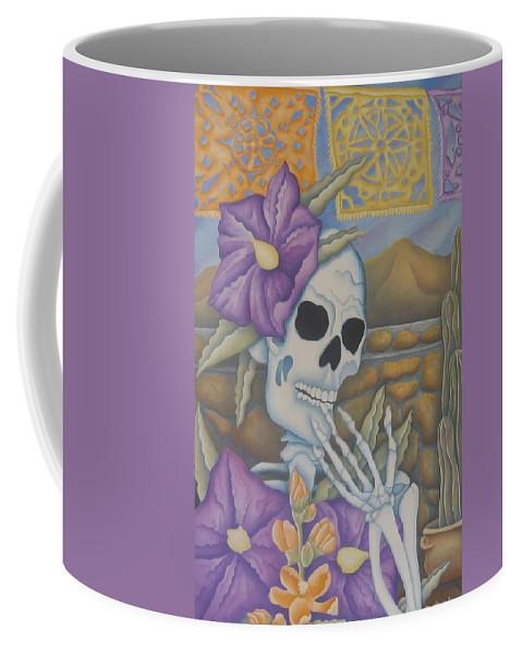Calavera Coffee Mug featuring the painting La Coqueta- The Coquette by Jeniffer Stapher-Thomas