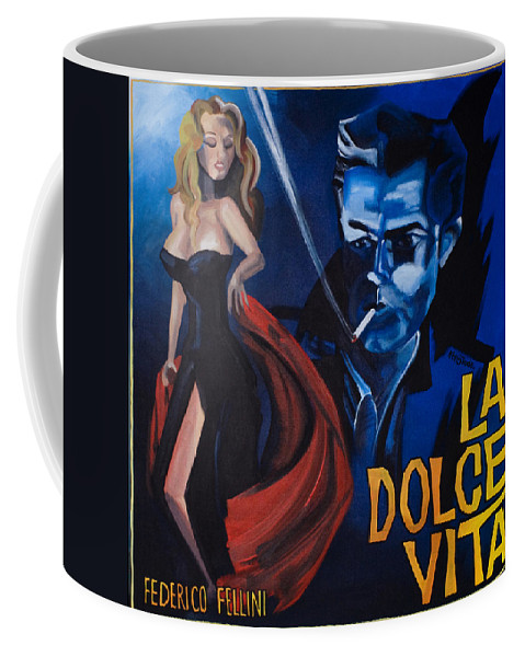 Movie Poster Coffee Mug featuring the painting La Dolce Vita by Kelly Jade King