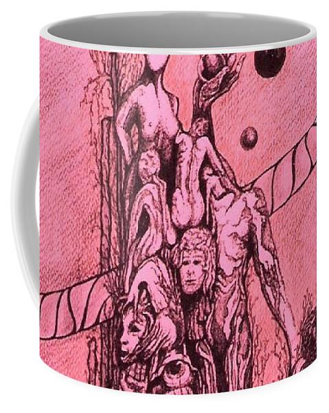 Surreal Artwork Coffee Mug featuring the painting La Familia by Jordana Sands