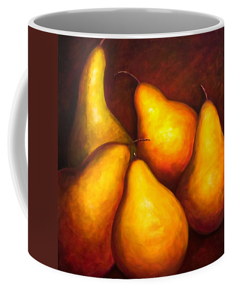 Still Life Yellow Coffee Mug featuring the painting La Familia by Shannon Grissom