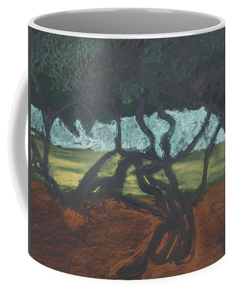 Contemporary Tree Landscape Coffee Mug featuring the mixed media La Jolla II by Leah Tomaino