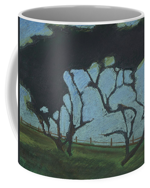 Contemporary Tree Landscape Coffee Mug featuring the mixed media La Jolla IIi by Leah Tomaino