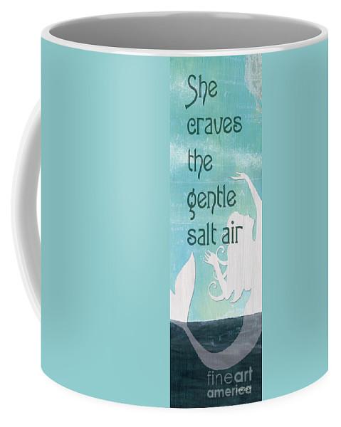 Mermaid Coffee Mug featuring the painting La Mer Mermaid 2 by Debbie DeWitt