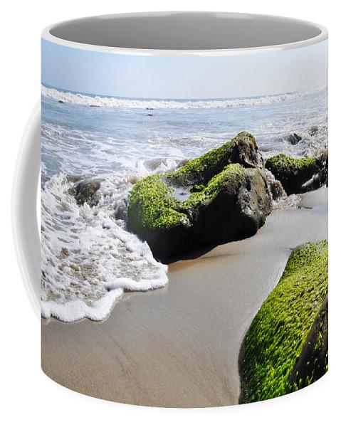 La Piedra State Beach Coffee Mug featuring the photograph La Piedra Shore Malibu by Kyle Hanson