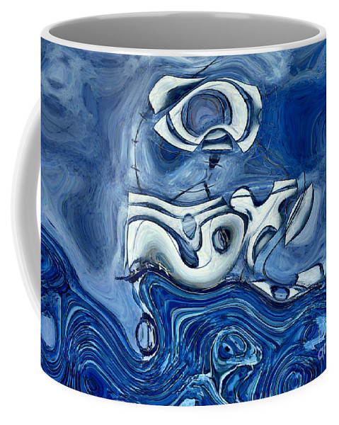 Abstract Coffee Mug featuring the digital art La Tempete - S02a302d by Variance Collections