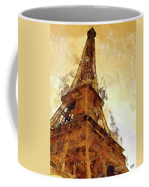 Digital Art Coffee Mug featuring the digital art La Tour Eiffel by Dragica Micki Fortuna