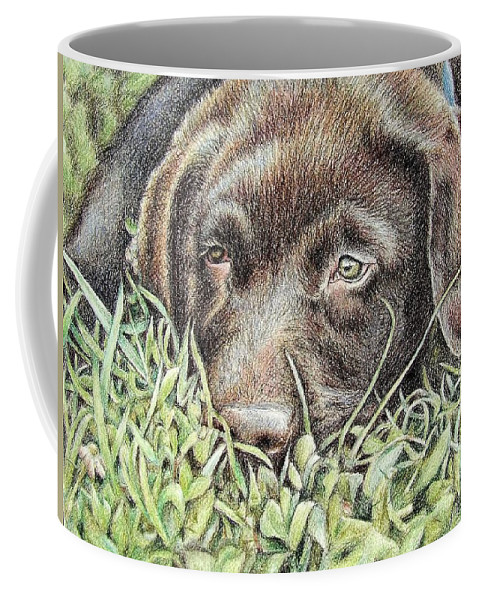 Dog Coffee Mug featuring the pastel Labrador Puppy by Nicole Zeug