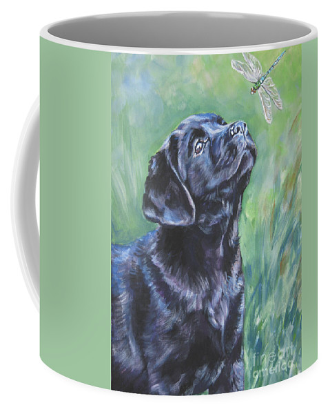 Dog Coffee Mug featuring the painting Labrador Retriever Pup And Dragonfly by Lee Ann Shepard