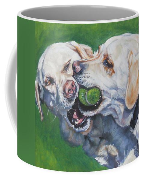 Dog Coffee Mug featuring the painting Labrador Retriever Yellow Buddies by Lee Ann Shepard