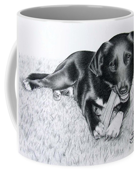 Dog Coffee Mug featuring the drawing Labrador Samy by Nicole Zeug