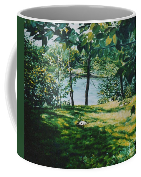Landscape Coffee Mug featuring the painting Lac D'aigle by Marianne AUZOL