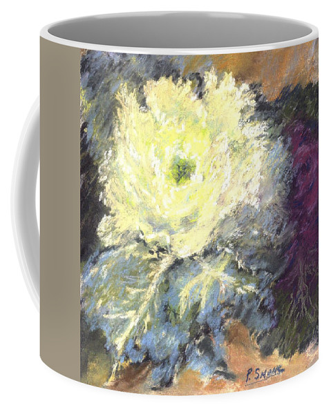 Still Life Cabbage Coffee Mug featuring the pastel Lace Curtin Cabbage by Pat Snook