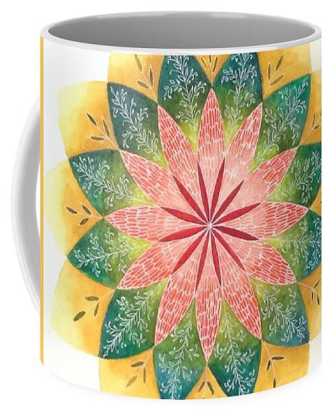 Lace Coffee Mug featuring the painting Lacey Petals Mandala by Andrea Thompson