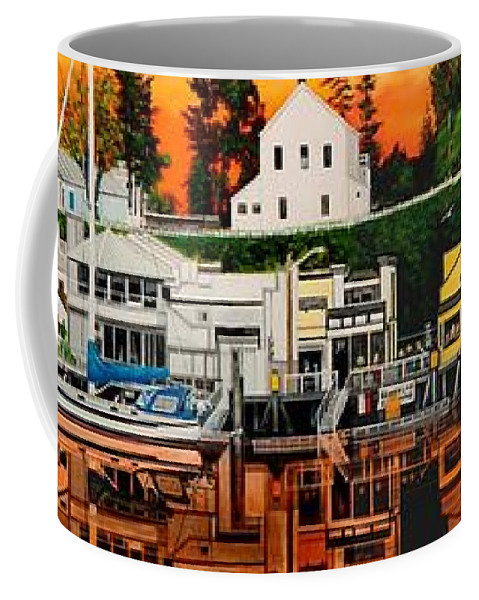 Coffee Mug featuring the painting Laconner Waterfront Art Panel by Bob Patterson