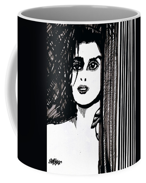 Sad Lady Coffee Mug featuring the drawing Lady At The Door by Seth Weaver