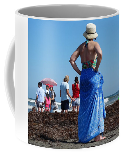 Beach Coffee Mug featuring the photograph Lady In Blue by Ruby Rammer