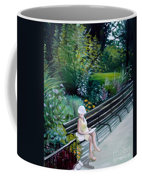 Landscape Coffee Mug featuring the painting Lady In Central Park by Elizabeth Robinette Tyndall