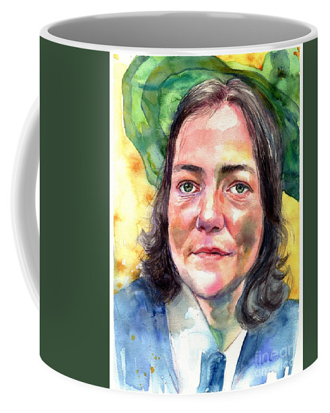 Aurora Coffee Mug featuring the painting Lady In Green Hat by Suzann Sines