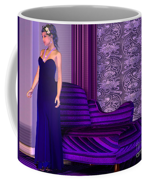 Gown Coffee Mug featuring the painting Lady In Lilac Room by Corey Ford
