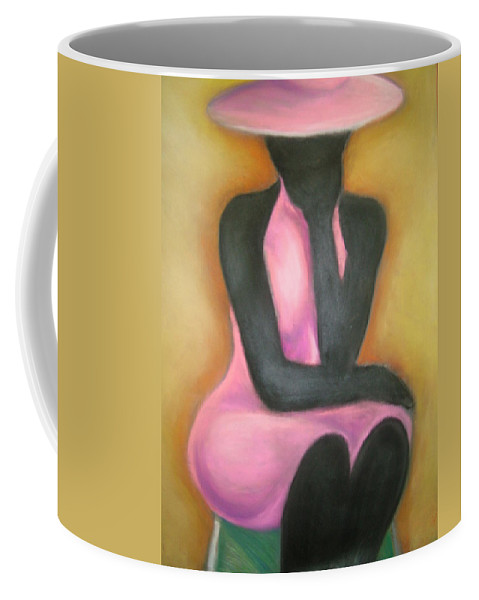 Woman Coffee Mug featuring the drawing Lady In Pink by Jan Gilmore