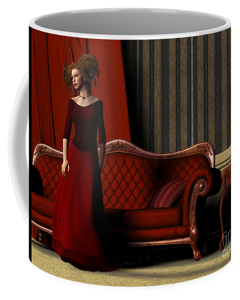 Red Coffee Mug featuring the painting Lady In Red by Corey Ford