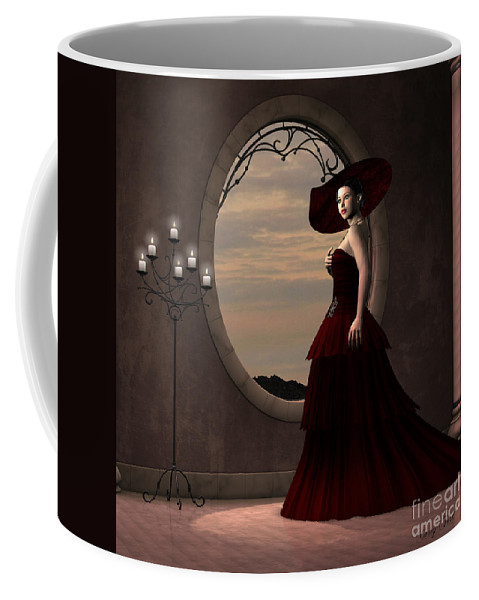 Dress Coffee Mug featuring the painting Lady In Red Dress by Corey Ford