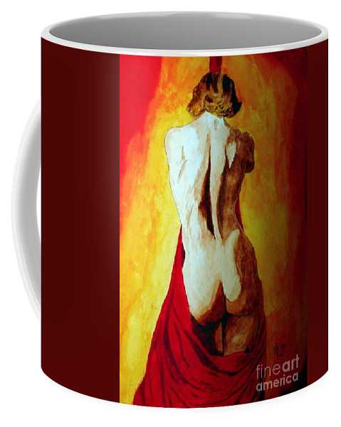 Nude Red Lady In Red Coffee Mug featuring the painting Lady In Red by Herschel Fall