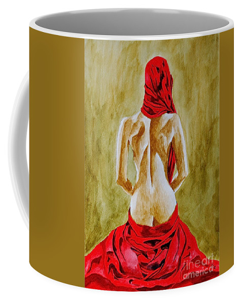 Lady In Red Nudes Red Coffee Mug featuring the painting Lady In Red Three by Herschel Fall