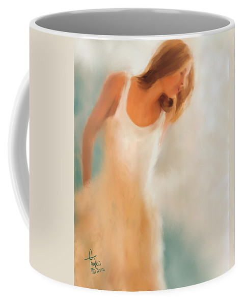 Woman Coffee Mug featuring the painting Lady In White by Colleen Taylor