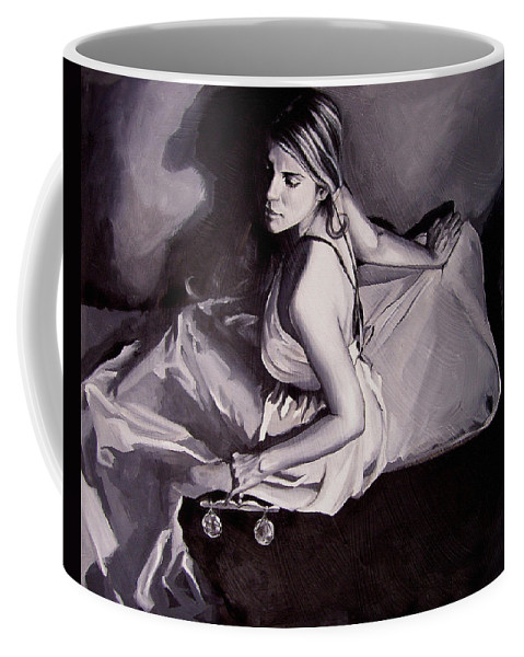 Law Art Coffee Mug featuring the painting Lady Justice Black And White by Laura Pierre-Louis