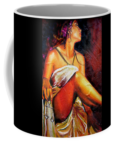 Law Art Coffee Mug featuring the painting Lady Justice Mini by Laura Pierre-Louis