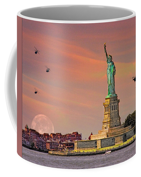 Moon Coffee Mug featuring the photograph Lady Liberty by Chris Lord