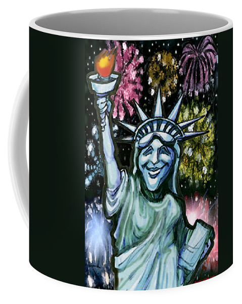 Liberty Coffee Mug featuring the painting Lady Liberty by Kevin Middleton