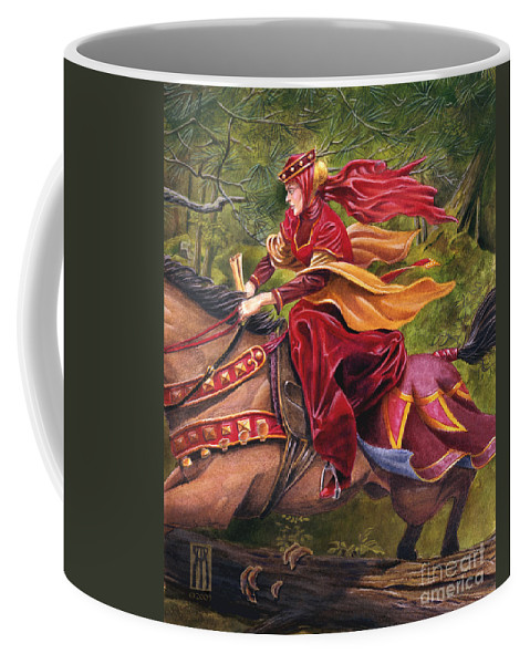 Camelot Coffee Mug featuring the painting Lady Lunete by Melissa A Benson