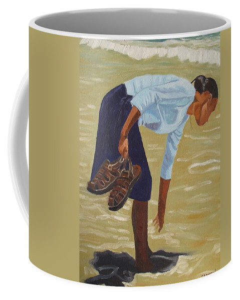 Figurative Coffee Mug featuring the painting Lady On The Seashore by Emmanuel Anderson