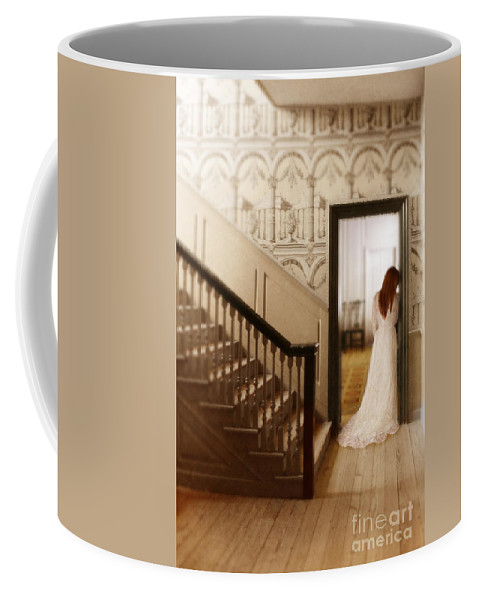 Beautiful Coffee Mug featuring the photograph Lady Standing In A Doorway by Jill Battaglia