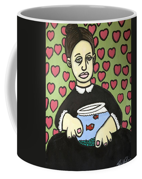 Coffee Mug featuring the painting Lady With Fish Bowl by Thomas Valentine