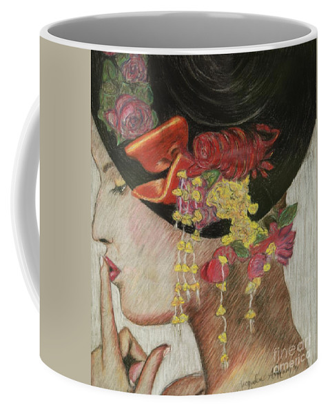 Lady With Hat Coffee Mug featuring the drawing Lady With Hat by Jacqueline Athmann