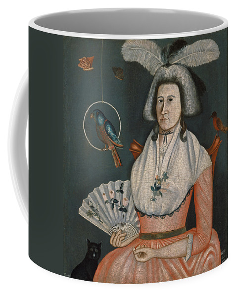 Rufus Hathaway Coffee Mug featuring the painting Lady With Her Pets. Molly Wales Fobes by Rufus Hathaway