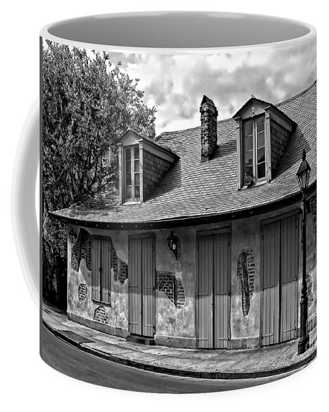 New Orleans Louisiana Coffee Mug featuring the photograph Lafittes Blacksmith Shop Bar In Black And White by Kathleen K Parker