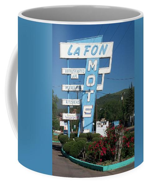 Vintage Motel Signs Coffee Mug featuring the photograph Lafon Motel by Anita Burgermeister