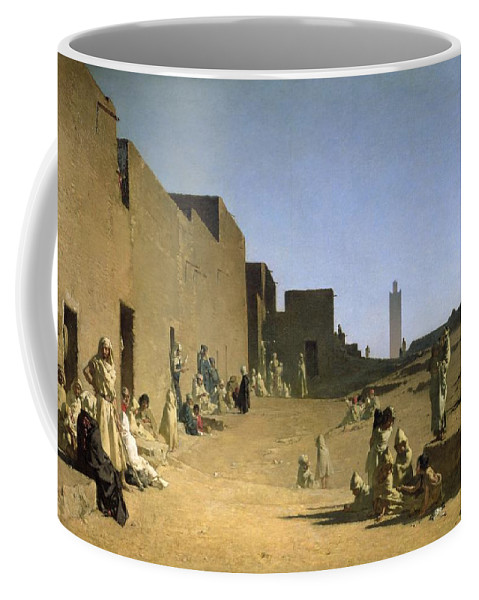 Desert; Town; Arabs; Street; Children; Arabian; North Africa; Djellebah Coffee Mug featuring the painting Laghouat In The Algerian Sahara by Gustave Caillebotte