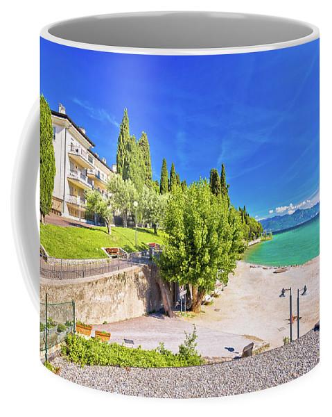 Sirmione Coffee Mug featuring the photograph Lago Di Garda Beach In Sirmione View by Brch Photography