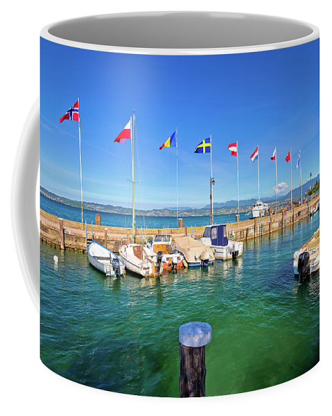 Sirmione Coffee Mug featuring the photograph Lago Di Garda Harbor In Sirmione View by Brch Photography