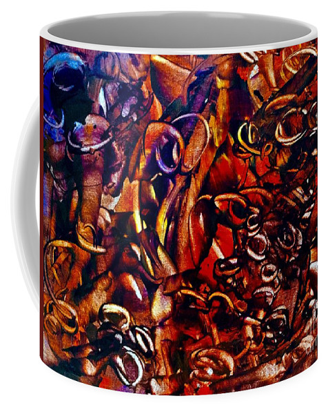 Abstract Coffee Mug featuring the painting Lair by Elle Justine