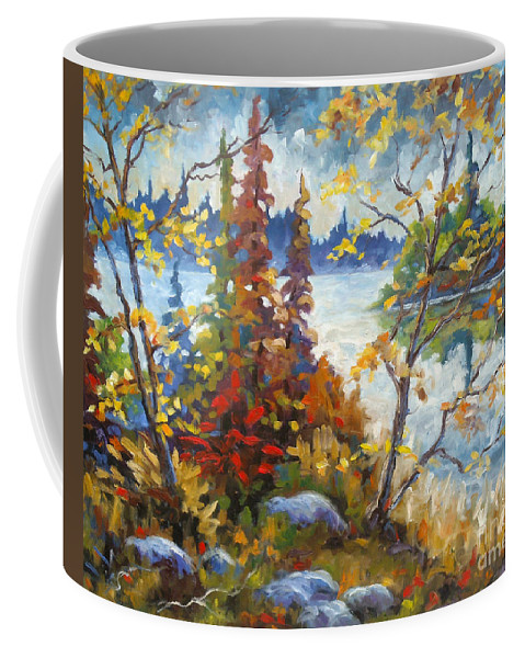 Trees Coffee Mug featuring the painting Lake Cartier by Richard T Pranke