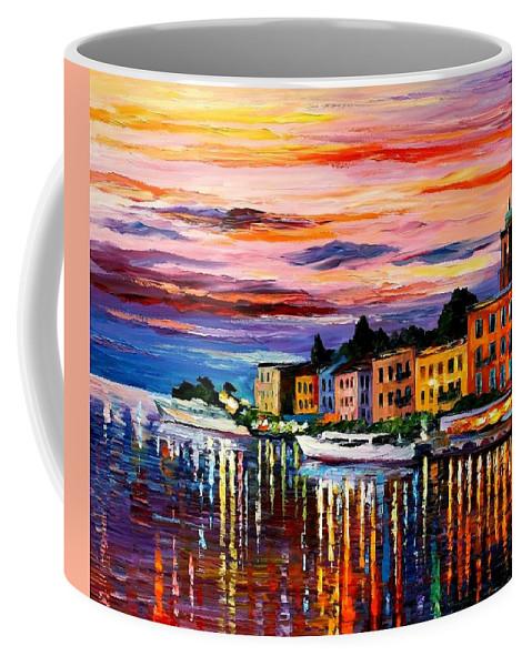 Cityscape Coffee Mug featuring the painting Lake Como - Bellagio by Leonid Afremov