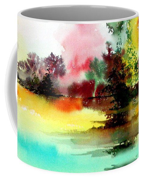 Nature Coffee Mug featuring the painting Lake In Colours by Anil Nene