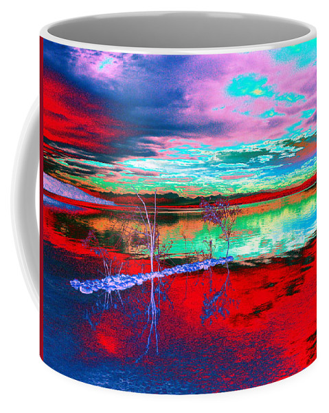 Sea Coffee Mug featuring the digital art Lake In Red by Helmut Rottler