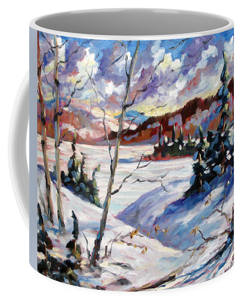 Lake Coffee Mug featuring the painting Lake In Winter by Richard T Pranke